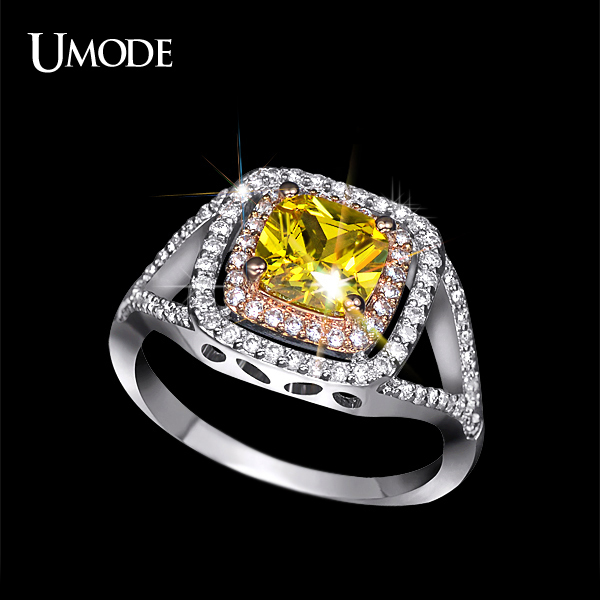 UMODE Luxurious Two Tone Plating Rare Cushion Cut Yellow CZ Diamond Jewelry Halo Engagement Rings UR0143(China (Mainland))
