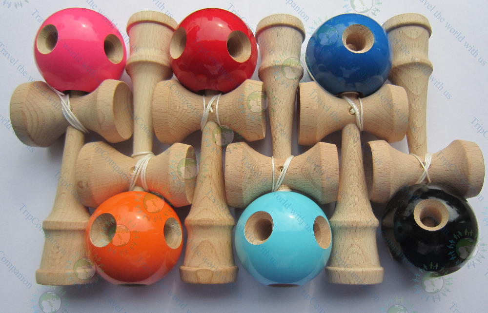 20pcs 5 HOLE KENDAMA juggle skillful ball game toy kid kit child japanese traditional wood game for all ages(China (Mainland))