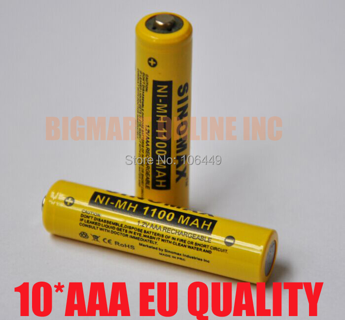 10pcs/Lot SINOMAX 1100MAH 10440 AAA size 1.2V rechargeable battery cell,1.2V Ni-Mh batteries for remote control,games and toys(China (Mainland))