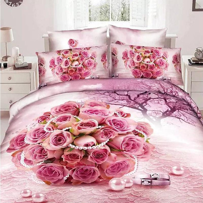 Romantic wedding 3d rose bedding set queen king size for Bride kitchen queen set
