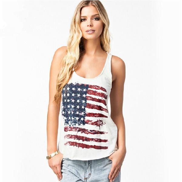 Fashion American Flag Pattern Print Tank Tops Girls White Sleeveless Tanks Tops Women European
