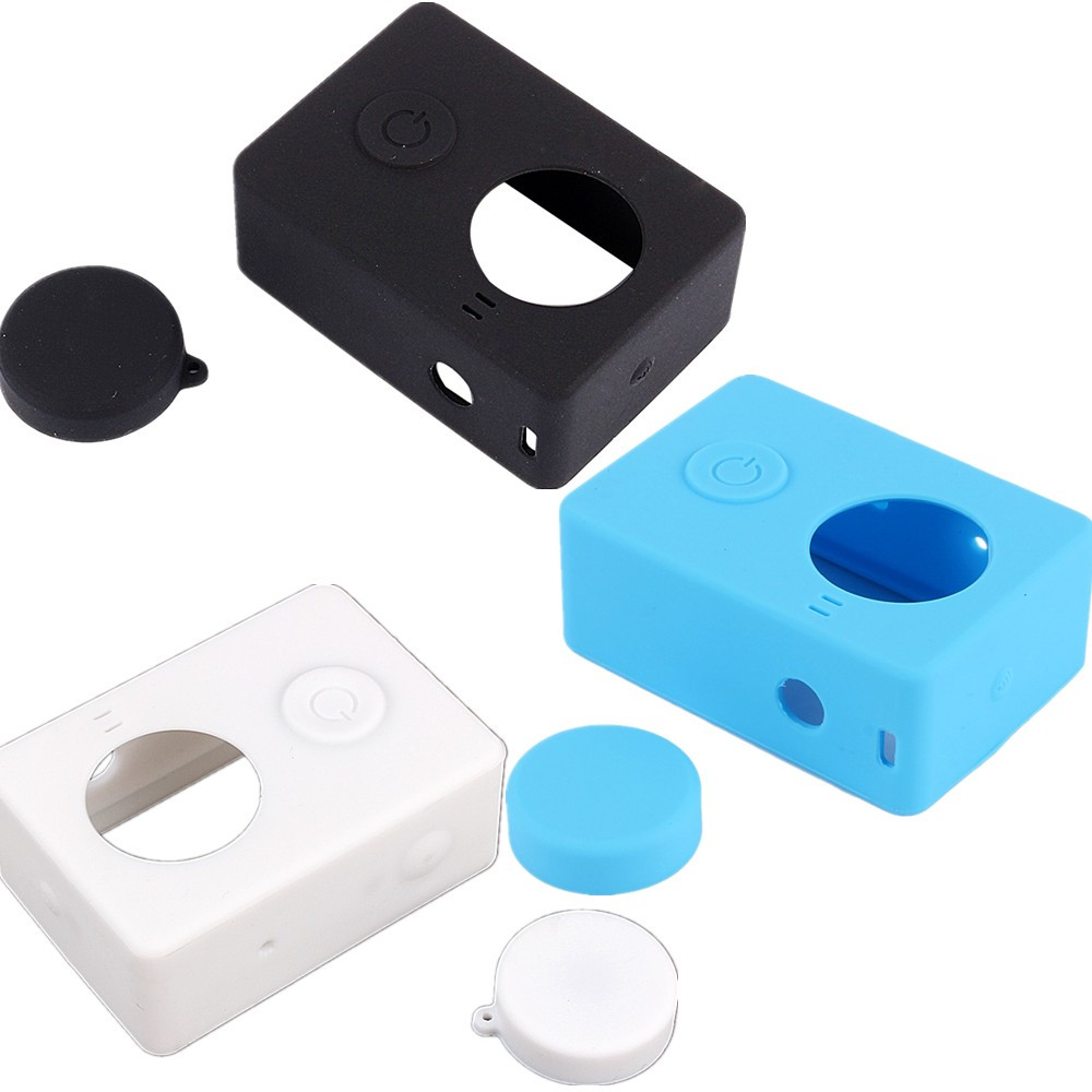 Silicone Rubber Skin Housing Camera Storage Box Case With Protective Lens Cover Cap For Xiaomi Yi Accessories Free Shipping(Hong Kong)