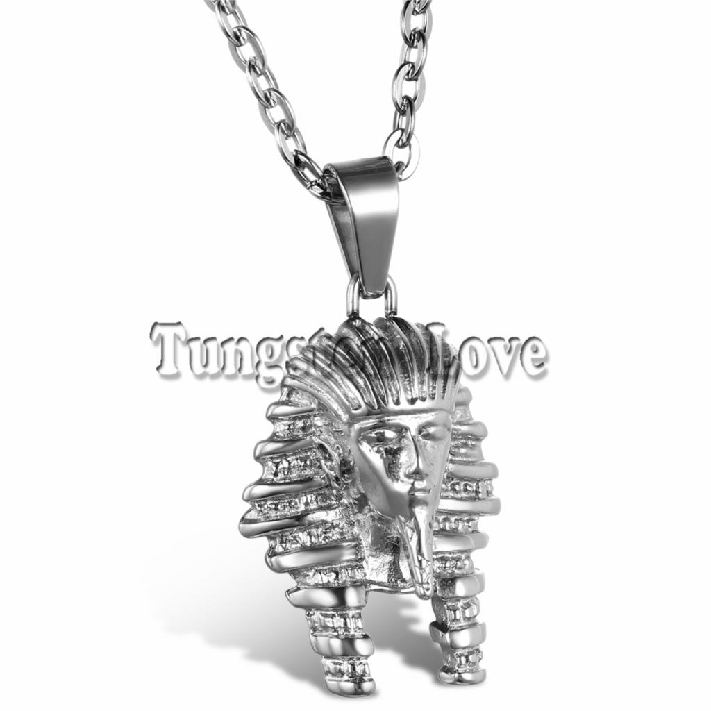 Fashion Jewelry Vintage Classic Egyptian pharaoh Head Pendant Stainless Steel Necklace for Men Women with 55cm Chain collier(China (Mainland))