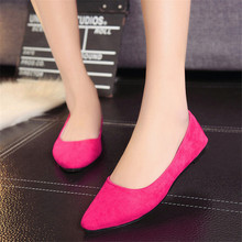2016 Spring Autumn High Quality Solid Flock Nubuck Leather Casual Women s Flats Shoes Fashion Pointed