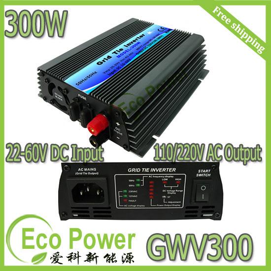 mppt solar power grid tie inverter 300W 22-60V DC ,300Watt Micro Inverter on grid inverter for Small Solar Power System(China (Mainland))
