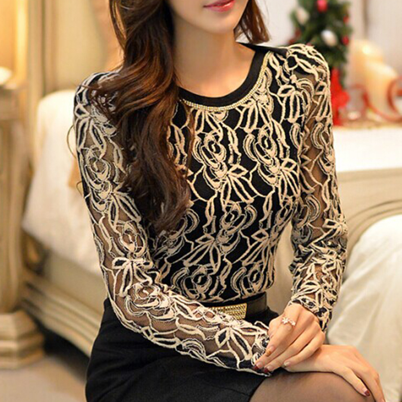 2015 New Arrival Women Clothing Korean Women Elegant Vintage Female Shirt Plus Size Long Sleeve Black Lace Chiffon Blouse 651E05(China (Mainland))