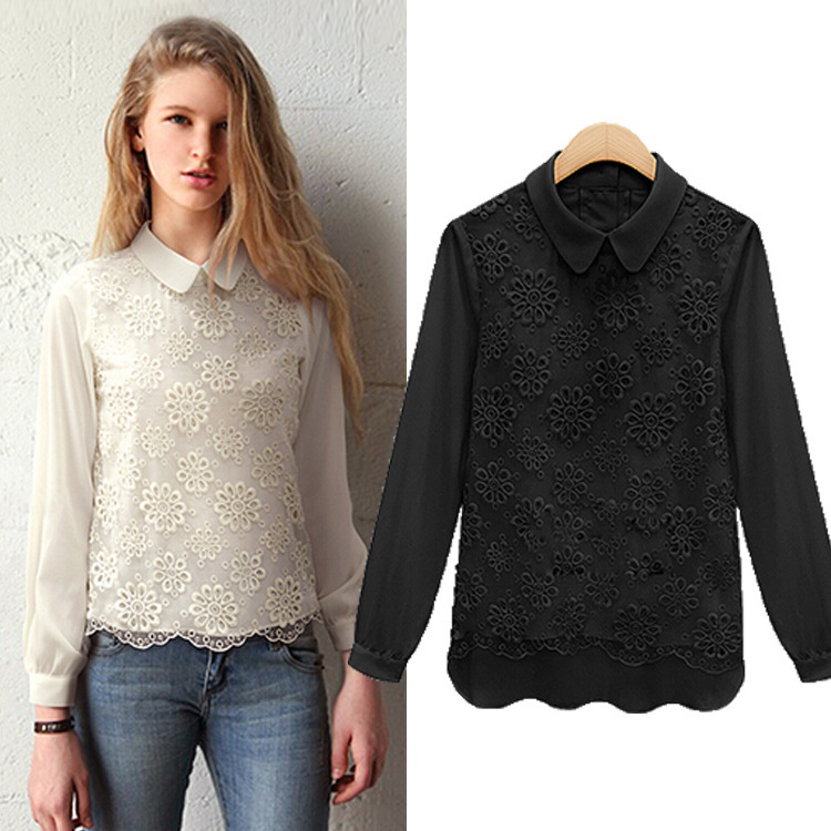 2015 new fashion fall woman's clothing Europe women autumn Eugen yarn female Lace Chiffon loose shirt collar blouse doll