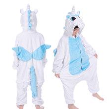 Kigurumi Unicorn Piyama Anak Baju Tidur Anak Laki-laki Anak Perempuan Anak-anak Onesies Hewan Musim Dingin Baru Flanel Hangat Homewear 4-12T(China)