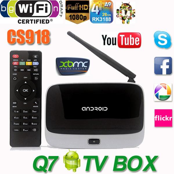 2015 Android 4.4 TV Box Q7 CS918 Full HD 1080P RK3188T Quad Core Media Player 1GB/8GB XBMC Wifi Antenna with Remote Control(China (Mainland))