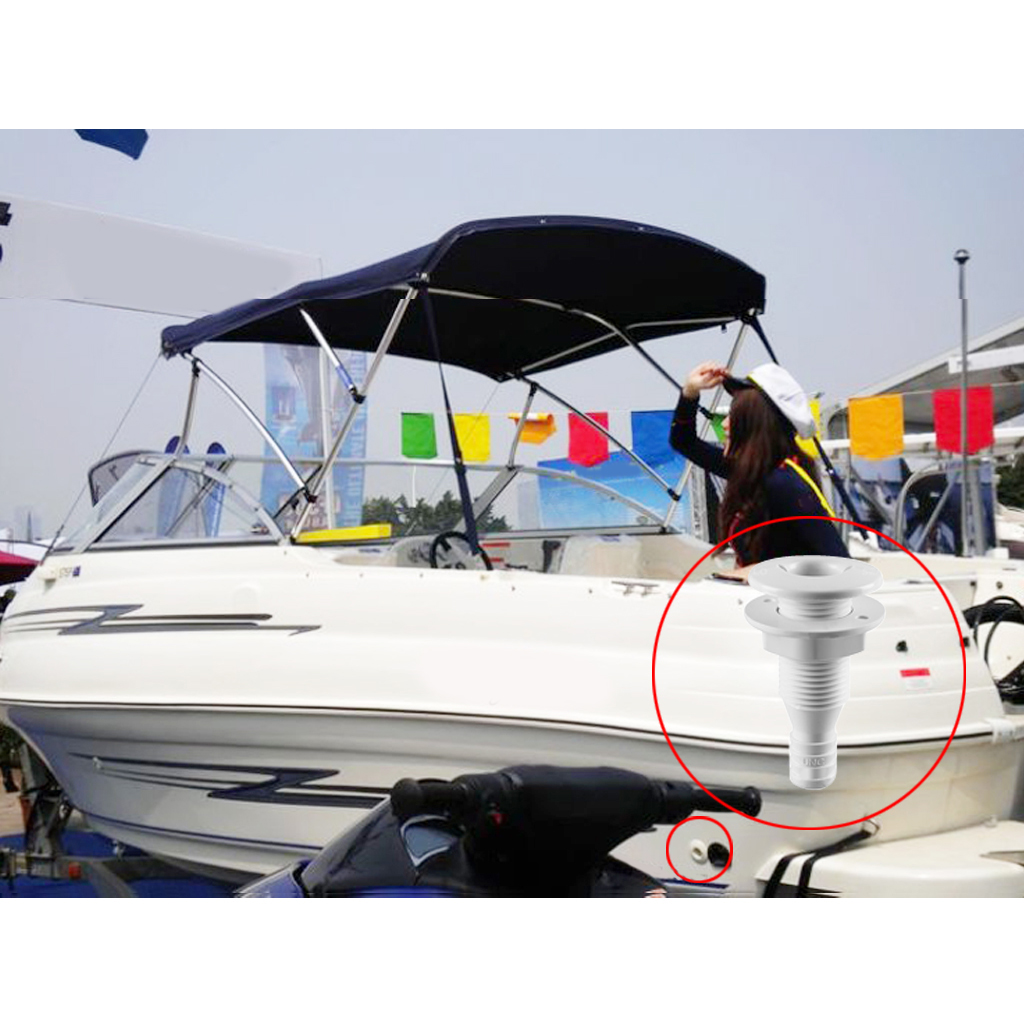 3/4' Plastic Thru-Hull Bilge Pump Drain or Vent Hose Fitting for Boats Provides Trouble-Free Hose Connections