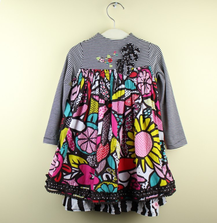 2013 Girls Baby Kids Autumn Long sleeves Geometry printing Flower Dress Wholesale<br><br>Aliexpress