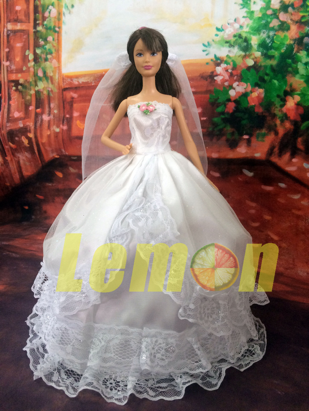Pretty Wedding Dress With Lace + Veil Princess Gown Lady Clothes For Barbie Doll White Colour Festival Birthday Gift(China (Mainland))
