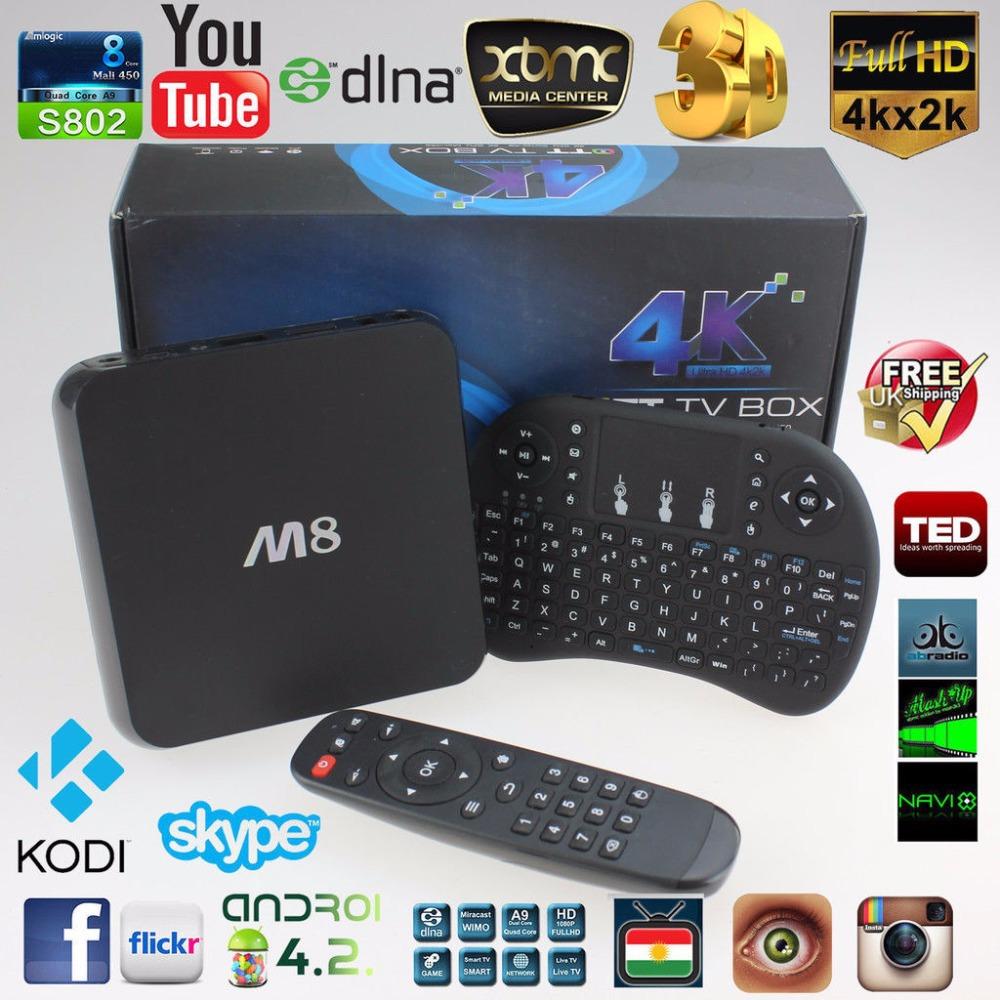 M8 Amlogic S802 Quad Core Android TV Box 2GB/8GB + RII I8 keyboard XBMC Kodi fully loaded Adult Free movie live Sky bein Sport(China (Mainland))