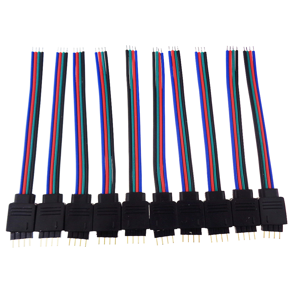 4pin Male connector cable 10*13cm size For RGB smd led strip light 10pcs/set easy install No Need Soldering all in stock<br><br>Aliexpress