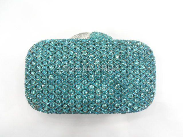 A6607 Aqua Crystal Lady Fashion Wedding Bridal Party Night Metal Evening purse clutch bag case handbag<br><br>Aliexpress