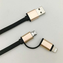 2 in 1 Aluminum Micro USB Cable 1M Charging Mobile Phone Cables For iPhone 6 5S 5 Charger ios Data For Samsung Galaxy Android