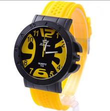 Megir marca reloj de hombre 2015 nueva moda clásicos del silicón de ginebra cuarzo de la jalea Men Pure relojes coloridos 5 Color