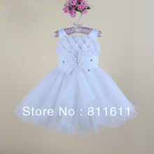 Flower Girls Dress New Arrivals Big Bowknot 3D Lotus Petals Kid Girl Party Dresses MBK-13121117(China (Mainland))
