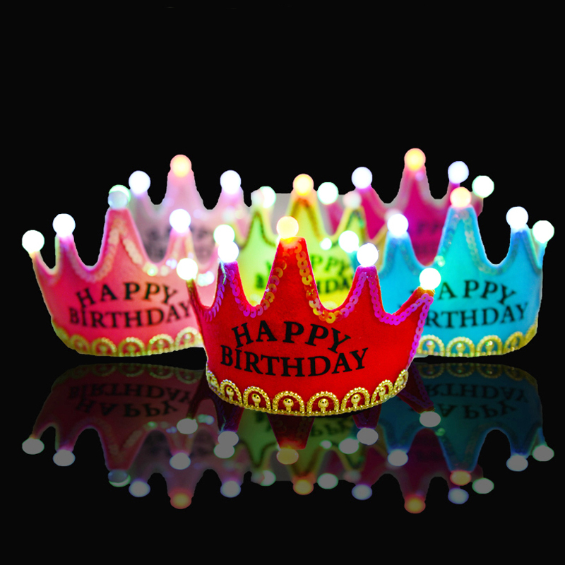 hot party hats Multicolor Birthday Party Crown Hat Happy Birthday Hat Princess Prince Hat Head Band Crown Cap with Led Light(China (Mainland))
