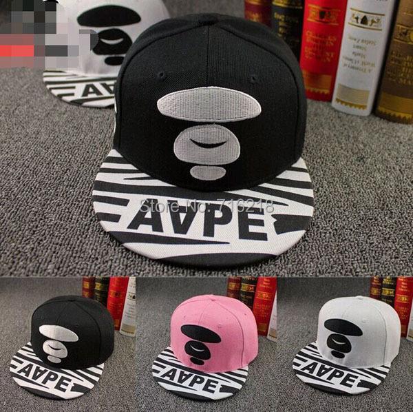 Women Men Snapback Letter AAPE Baseball Cap Dancing Hip Hop Bboy Kpop Flat Peak Visor Golf Football Hat Adjustable BC-452(China (Mainland))