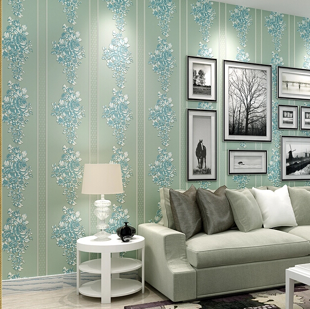 Paper three-dimensional rustic non-woven wallpaper vertical stripe flower bedroom wallpaper tv background wall