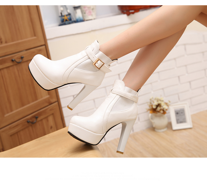 Winter And Fall Shoes Womens 2015 Plus Size 10.5 Fashion Ankle Boots White Chunky Heel Brown Black Platform Bootie<br><br>Aliexpress