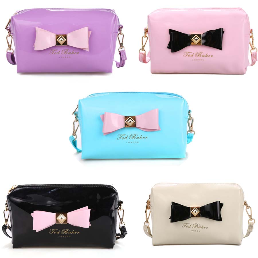 Women bow patent leather cosmetic bag ladies brand make-up bag crossbody small messenger bags for girls cute case and pouch vy(China (Mainland))