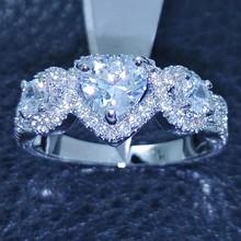 Victoria Wieck Heart Three-stone 10KT Gold Filled White Topaz simulated Diamond Wedding Ring Sz 5-11 Free shipping Gift(China (Mainland))