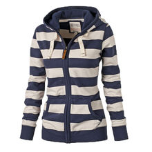 Autumn Spring Hot Women Warm Striped Hoodies Sweatshirts Female Hooded Zip-up Tops Jacket Coat Girl Long Sleeve Zipper Outerwear