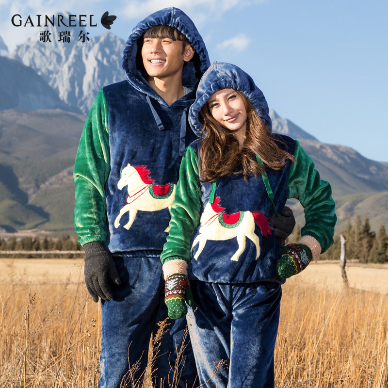 Song Riel winter flannel pajamas cartoon couple spring when the rain thickened hooded tracksuit suit