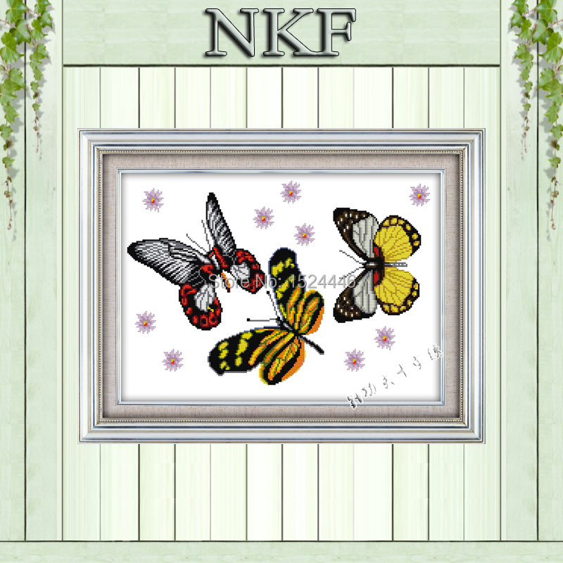 Butterfly dream beauty decor paintings Embroidery Sets Needlework Kits DMC 14CT 11CT NKF Cross Stitch Counted Printed on canvas(China (Mainland))