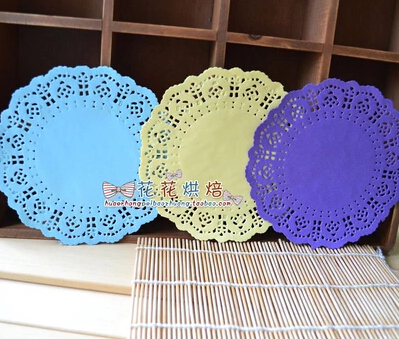 ,6.5'' Colored Flower Lace Round Paper Doilies Placemat Craft Doyleys Christmas Birthday wedding Tableware Decoration 100pcs(China (Mainland))