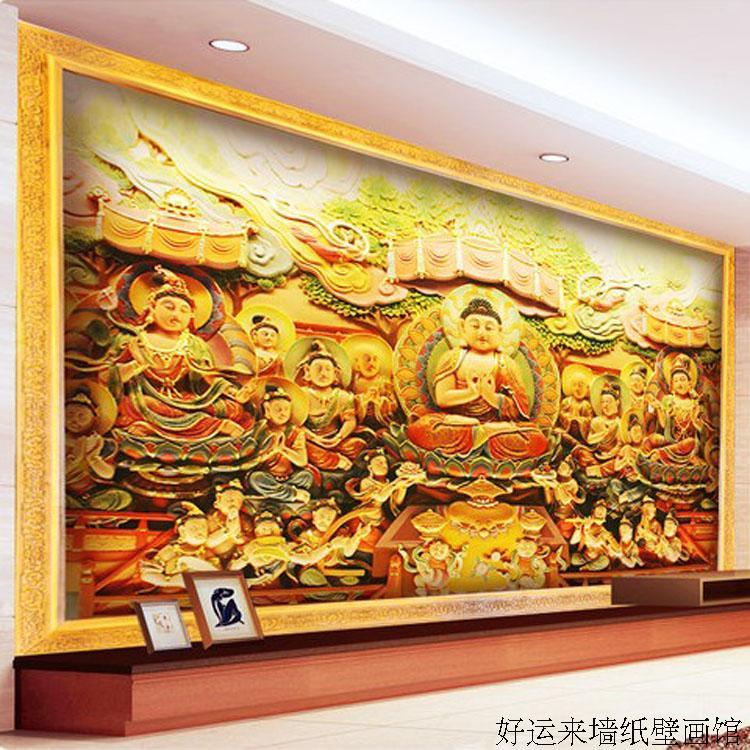Online get cheap zen wallpaper alibaba group for Buddha mural wallpaper
