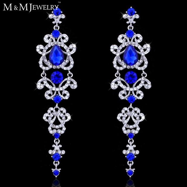 Синий / серебристый люстра кристалл длинные серьги для женщин свадебные украшения свадебные аксессуары EH421