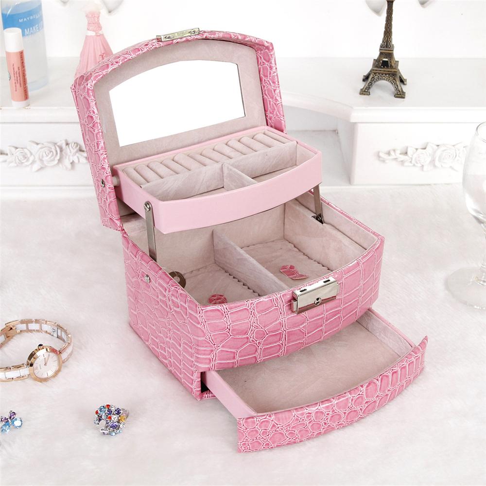US Shipping 1pc 3 Layer PU Leather Jewelry Cosmetics Organizer Display Mirror Case Women Luxury Gift Colck Pink cob000401(China (Mainland))