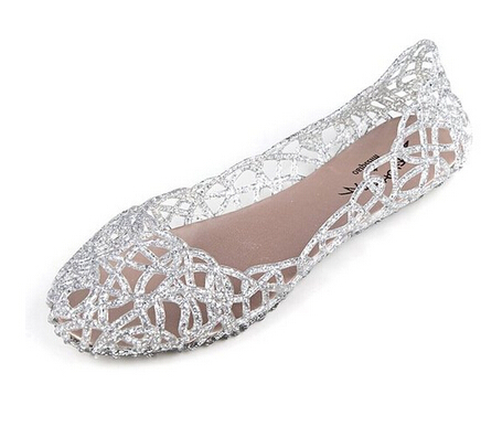 2015 Shallow Leisure Women Sandals Summer Crystal Cut out Flats Flat Heel Shoes Female Jelly sandals Free shipping XWZ030(China (Mainland))