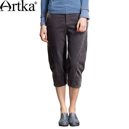 Artka WomenS Autumn Vintage Low Waist Loose Contrast Color Patchwork All-Match Casual Regular Cotton Harem Capris KA10540Q 118Одежда и ак�е��уары<br><br><br>Aliexpress