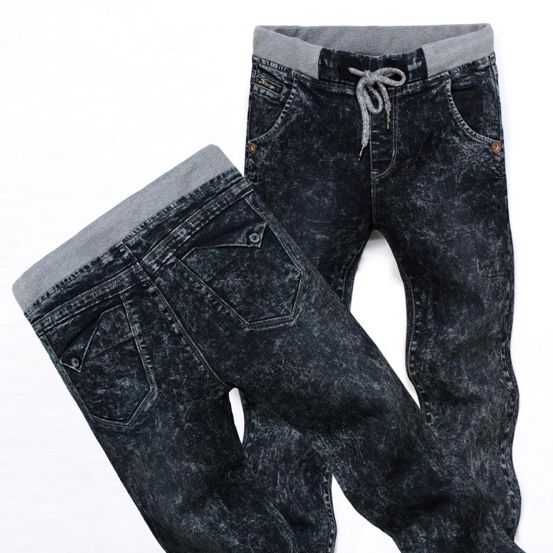 Mens Jeans Perfume And Winter Snow Korean Men's Denim Jean Slim Men Pencil Pants Elastic Waist Jeans Man Trousers free Shipping(China (Mainland))