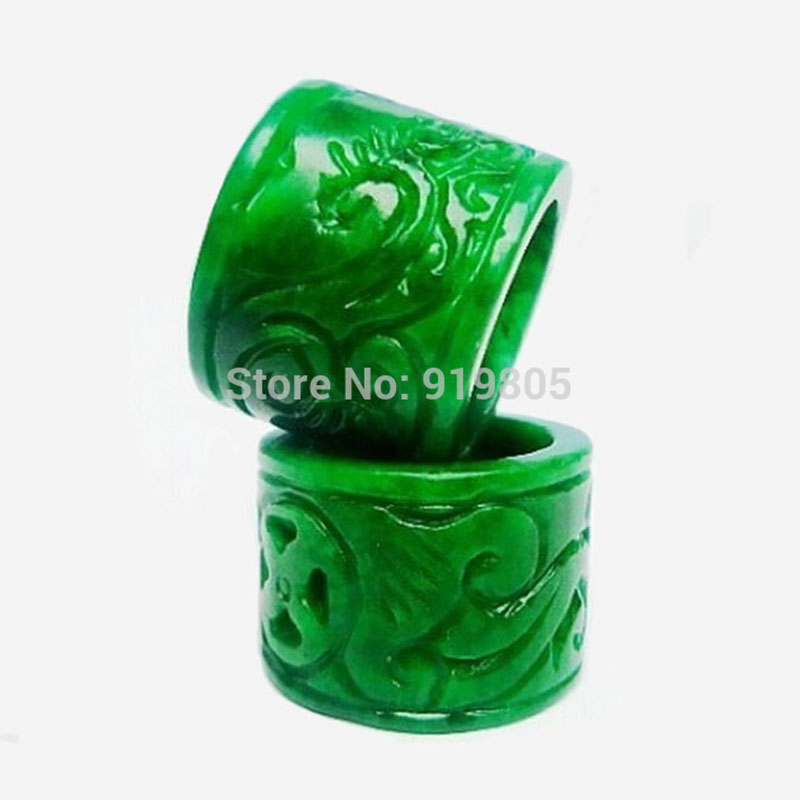 Natural emerald hand carved banzhi rings for men fingerstall New fashion jewelry jade And U.s Size7-9(China (Mainland))