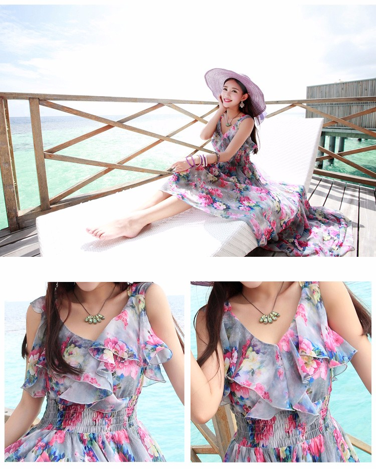 2016 New Bohemian Chiffon Dress Slim Thin Female Summer Seaside Resort Beach Suspenders Floral Ankle Length Dress Dovetail Long
