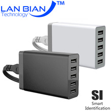 LANBIAN 8.0A Smart 5 USB Charger Built-in Smart Chip Safety Output Quick Charge for Tablet PC Ipad xiaomi Samsung 5KEU-2BG5(China (Mainland))