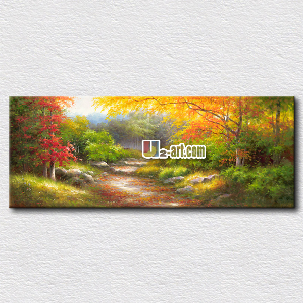 High quality landscape oil painting canvas art of natural picture wall art hang on the living room 40cmx100cm(China (Mainland))