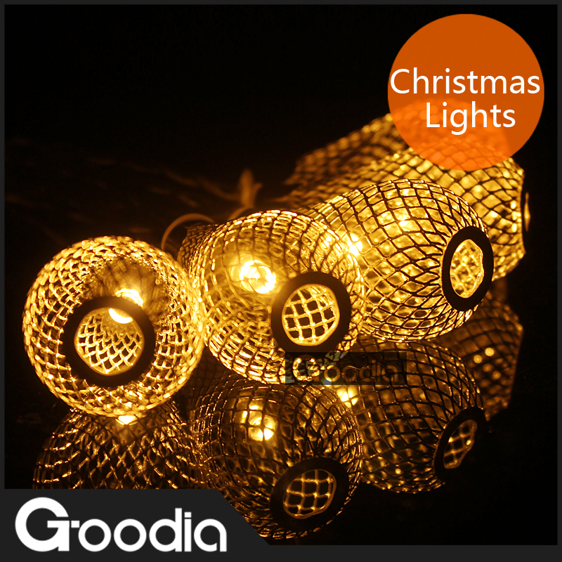 2.3M Metal LED RainDrop String Lights AA Battery Operated,Xmas Wedding Fairy Outdoor Party ...
