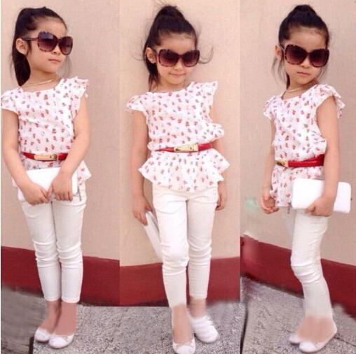 RT-150 Мода 2015 девушки одежда плиссированные с коротким рукавом футболки + белые ...
