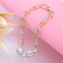 Free Shipping 1pc CZ Super 18K Gold Filled and White Gold Love Hearts Lovely Woman's Bracelet(China (Mainland))