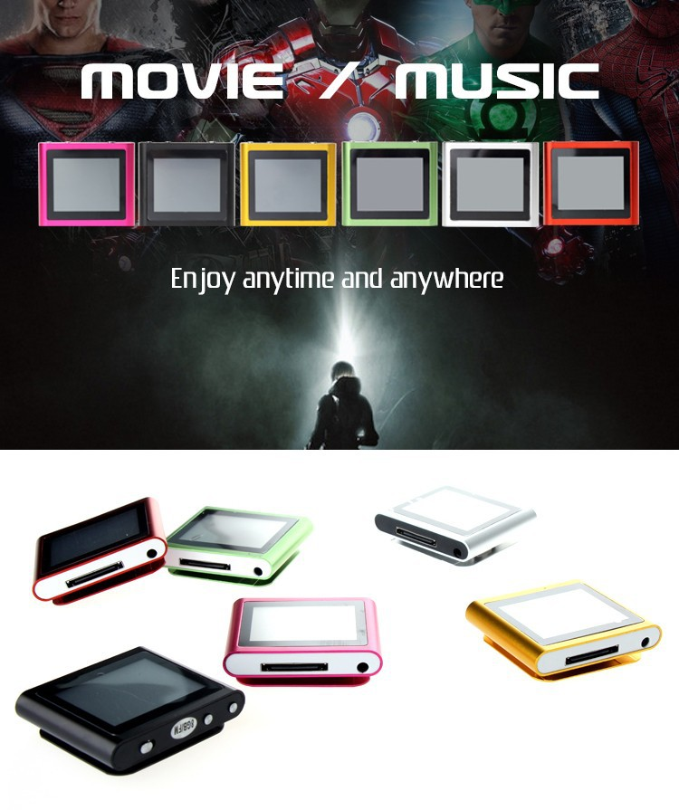 2015 New 6th mp3 mp4 music video player 4GB 1.8 inch Touch Screen With FM,TEXT reader,Audio recorder high quality