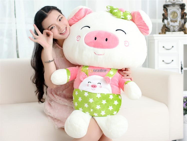 Fancytrader Lovely High Quality Cute Pig Toy 35'' 90cm Giant Cute Big Plush Stuffed Pig Animal Kids gift, Free Shipping FT90489(China (Mainland))