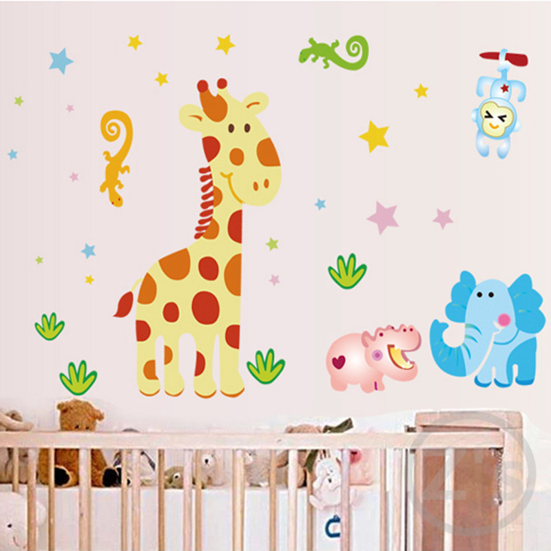 cartoon giraffe wall stickers for nursery baby room wallpaper babies wall decor children room ...