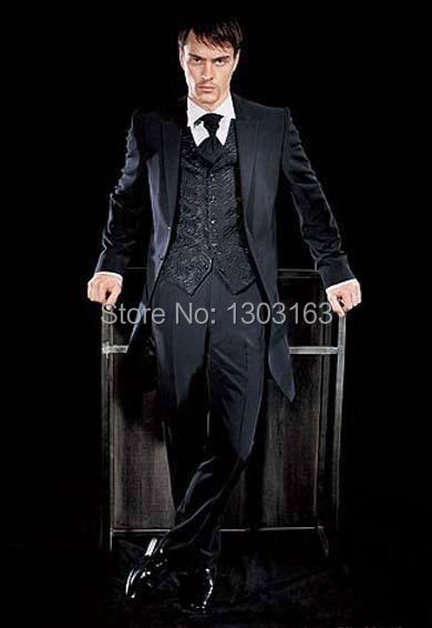 Custom Made Two Buttons Black Groom Tuxedos Notch Lapel Best Man Groomsmen Men Wedding Suits Bridegroom (Jacket+Pants+Vest+Tie)Одежда и ак�е��уары<br><br><br>Aliexpress
