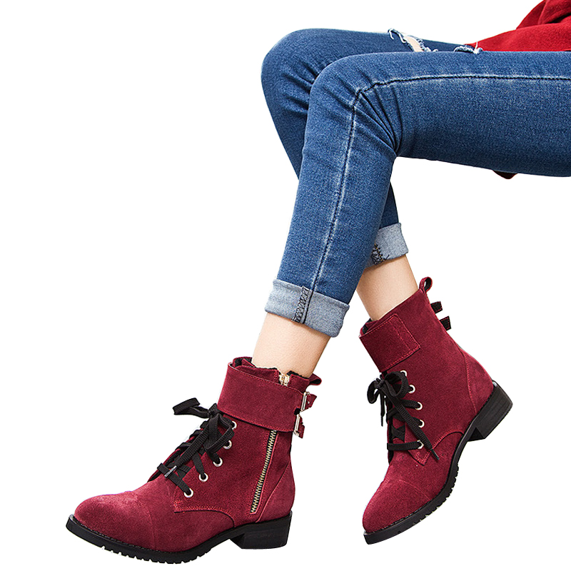Women Genuine Leather Martin Boots Lace Casual Riding Ankle Fashion Winter Motorcycle BT37 - haus zum ritter store